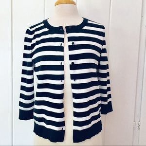 Navy & White Striped Cardigan Sweater petite NEW